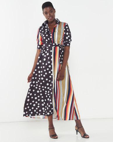 Utopia Stripe Maxi Dress With Tie Spot/Multi