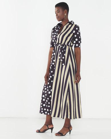 Utopia Maxi Dress With Tie Spot/Stripe Black