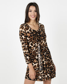 Utopia Dress With Tie Animal Print