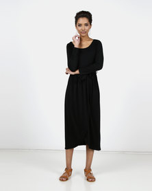 Utopia Knit Maxi Dress With Wrap Black