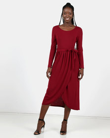 Utopia Burgundy Knit Maxi Dress With Wrap