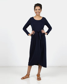 Utopia Knit Maxi Dress With Wrap Navy