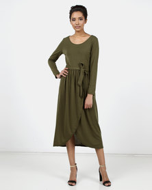Utopia Knit Maxi Dress With Wrap Olive