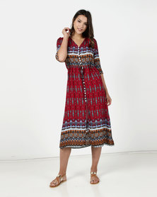 Utopia Print Maxi Shirt Dress Burgundy