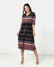 Utopia Print Maxi Shirt Dress Black