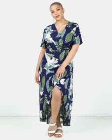 Utopia Plus Leaf Print Wrap Dress Black