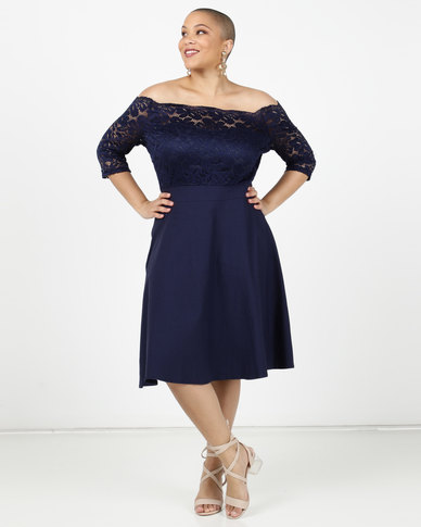 Utopia Plus Lace Bardot Fit And Flare Dress Navy