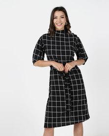 Utopia Check Dress With Self Tie Black/White