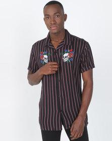 Brave Soul Fine Vertical Stripes Short Sleeve Shirt With Skull Embroidery Black