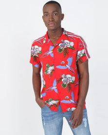 Brave Soul Tropical Skull Short Sleeve Shirt Red