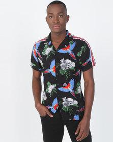 Brave Soul Tropical Skull Short Sleeve Shirt Black