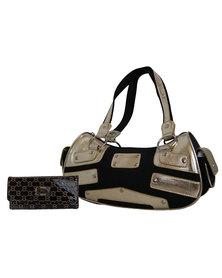 Fino Canvas & Metallic 2 Tone Shoulder Bag & Pu Patent Leather Purse Set- Black