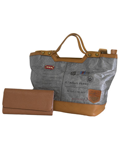 Fino Ultra light Eco Tyvek Multi-Proof Bag & Purse Set-Grey