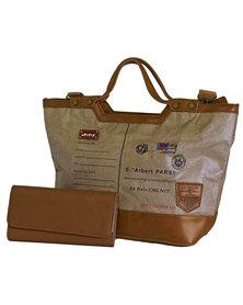 Fino Ultra light Eco Tyvek Multi-Proof Bag & Purse Set-Light Brown