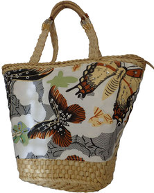 Fino Sequinned Butterfly Straw Basket With beaded handles-Embellished Straw Basket With Prints  - Khaki