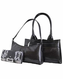 Fino 2 Piece Stylish Pu Leather Bags And Croc Leather Purse Set - Black