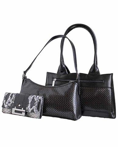 Fino 2 Piece Stylish Pu Leather Bags And Croc Leather Purse Set - Black