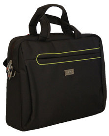 "Fino 15"" Polyester Laptop & Document Bag (SK9023) - Black & Green Pipping"