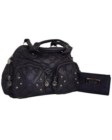 Fino Pu Quilted Leather Bag & Purse Set - Dark Purple