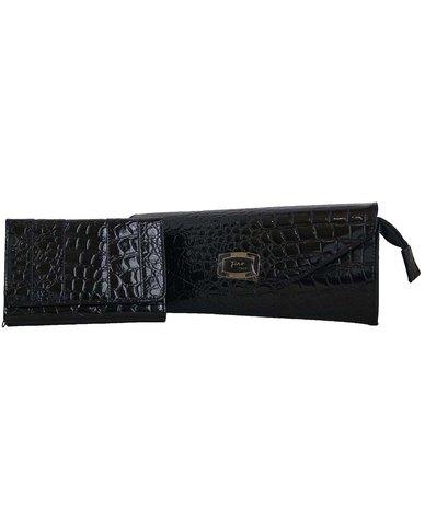 Fino Patent Pu Leather Clutch Bag with Purse - Black