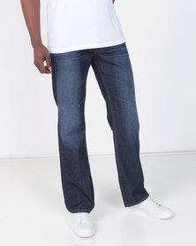Smith & Jones Enrico Bootleg Jean With Belt Dark Blue Wash
