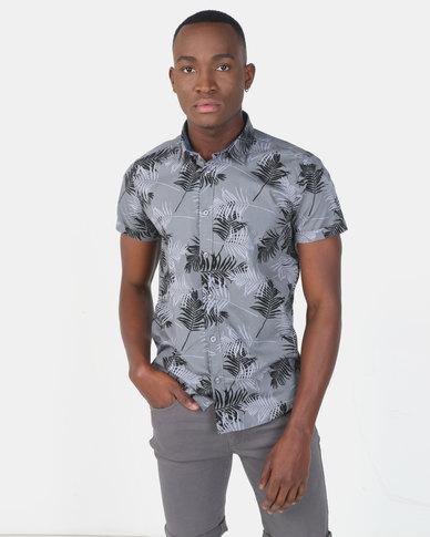 Smith & Jones Castlerock Audley Grey Floral Short Sleeve Shirt