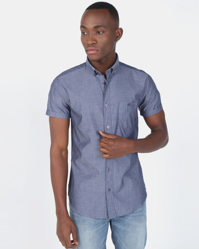 Smith & Jones Dark Blue Henthorn Short Sleeve Plain Shirt