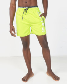 Smith & Jones Lime Punch Baisley Swim short With Exposed Waistband