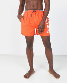 Smith & Jones Red Orange Baisley Swim short With Exposed Waistband