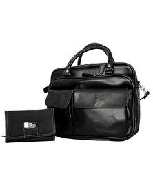 Fino Multi-Compartment PU Organizer Cross Body Shoulder Bag + Pu Leather Purse Value Pack - Black
