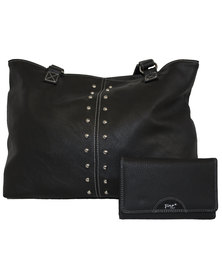 Fino Pu Leather Shoulder Bag with Studs & Purse Set - Black