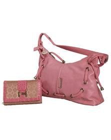 Fino Pu Leather Shoulder Bag & Purse Set - Pink