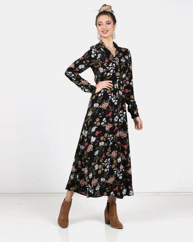 Legit Long Sleeve Floral Shirt Dress Multi