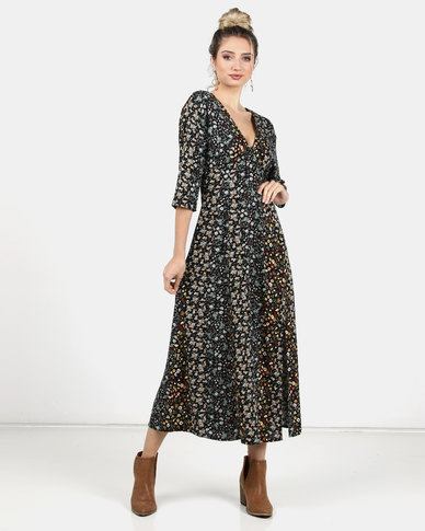 Legit V-Neck Floral Maxi Dress Multi