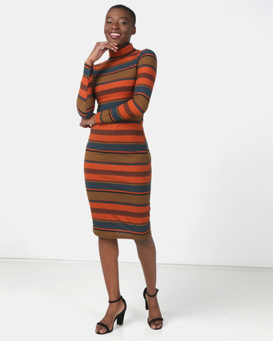 Legit Long Sleeve Poloneck Stripe Tube Dress Multi