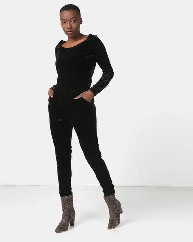 Legit Long Sleeve Velour Jumpsuit Black