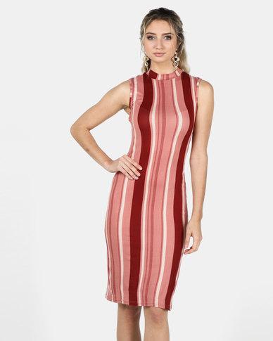 Legit Sleeveless Turtle Neck Stripe Tube Midi Dress Blush