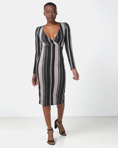 Legit Long Sleeve Stripe Open Back Tube Dress Black