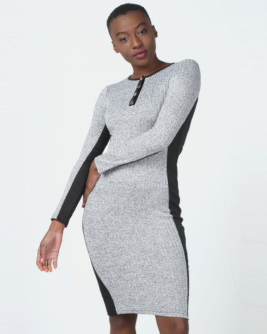 Legit Long Sleeve Colourblock Tube Midi Dress Grey