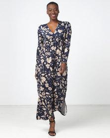 Legit Long Wrap Waist Floral Knit Maxi Dress Navy