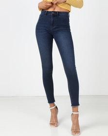 Legit Fray Hem Skinny Jeans Blue