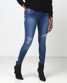 Legit Mended Patch Skinny Jeans Ink
