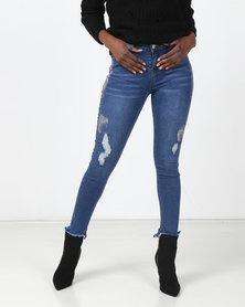 Legit Metallic Paint Chewed Hem Skinny Jeans Stonewash