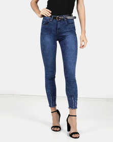 Legit Belted Ladder Hem Skinny Jeans Periwinkle