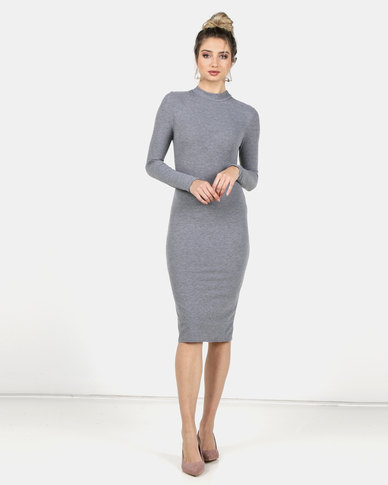Legit Long Sleeve Turtle Neck Tube Midi Dress Grey Melange
