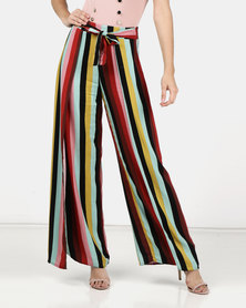 Legit Stripe Wrap Wide Leg Pants Multi