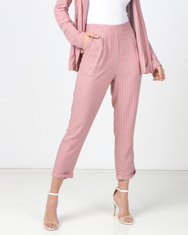 Legit Pinstripe Tapered Pants Blush/Multi