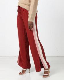 Legit Split Side Stripe Wide Leg Pants Rust