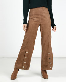 Legit Suede Panelled Front Wideleg Pant Tobacco