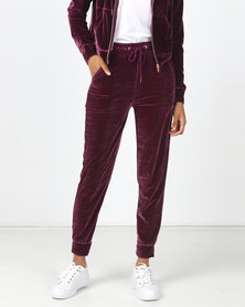 Legit Velour Jogger Grape Wine